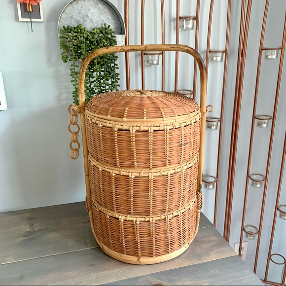 Vintage Japanese Wedding Basket Three Compartments